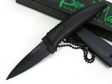 BENCHMARK Black Tactical Straight CERAMIC Fixed Blade NECK Knife + Sheath BMK007