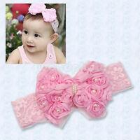 Pink Baby Newborn Rose Bow Lace Peal Headband Cute Toddler Hairband Headdress