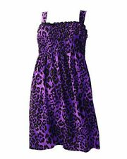 DARKSIDE PURPLE LEOPARD PRINT DRESS TUNIC SMOCK, PUNK GOTH ROCK 8 10 12 14 16