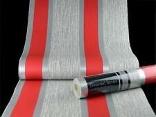 Direct Wallpapers Striped Red Silver Stripes Retro Embossed Metallic Wallpaper