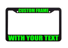 TAG HOLDER CUSTOM TEXT PERSONALIZED Lime Green License Plate Frame Decal Sticker