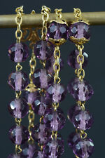 Art Nouveau rare antique french Rosary sterling silver vermeil purple crystal