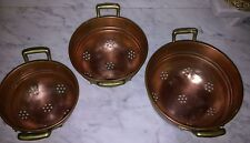 Vintage copper colanders strainers with brass handles set of 3