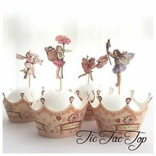 12x Garden Fairy CUPCAKE Wrappers + Toppers Pick Party Flower Blossom