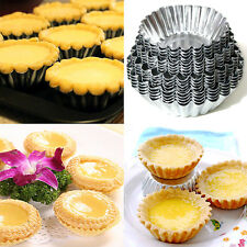 10PCS Disposable Aluminum Round Foil Baking Cookie Muffin Cupcake Egg Tart Mold