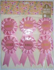 6 Rosa Pretty ganador rosetas, Excelente Para Fiestas etc. Caballo Pony Fiesta