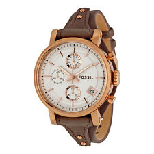 Fossil Original Boyfriend Chronograph Silver Dial Brown Strap Ladies Watch