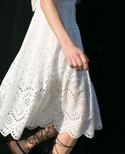 NWT ZARA LONG LASER-CUT SKIRT off-white crochet lace R.4786/042 Size S