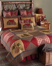 Park Designs Cabin Collection Queen Quilt and 2 Standard Shams Lodge Bedding Set
