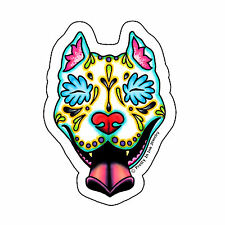 Day of the Dead Pit Bull Sticker Sugar Skull Pitbull Dog Decal Muertos Calavera