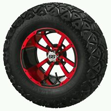 "GOLF CART 12"" RED STORM TROOPER WHEELS WITH 23x10.5-12  TIRE (SET OF 4)"