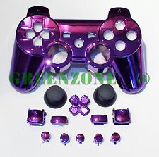 Chrome violet de rechange PS3 controller shell mod kit + matching boutons kit