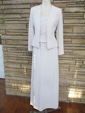Avanti Mother of Bride Long Evening Dress & Jacket Sz 6 Beige Beaded