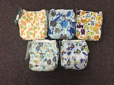 5 Blueberry Basix One Size Cloth Diapers With Inserts Snails Traffic Bugs New