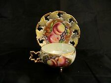 """JAPAN  -  ROYAL  SEALY  """" PEACH , GRAPE , NUTS """"  FOOTED  TEA CUP & SAUCER - EXC"""