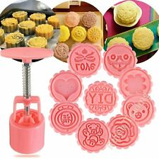 50g Round Flower Moon Cake Mold Set Mooncake Mould Kit Pastry Decor 9 Stamps DIY