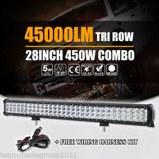 Tri Row 28inch 450W Cree LED Light Bar Spot Flood Combo Beam Work Car Boat 4X4WD