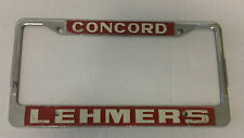 Concord Lehmers CA metal license plate frame embossed holder auto dealership tag