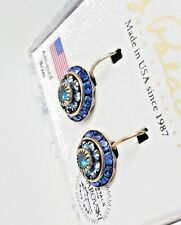 *USA MADE* LIZ PALACIOS Swarovski Crystal Mixed Blue Rondelle Drop Earrings 1""