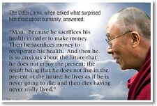 Dalai Lama - Humanity Money Life - NEW Famous Person Classroom Quote POSTER