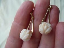 Fine genuine Angel Skin Coral earrings, carved rose design, 14k yellow gold