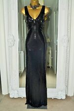 ⭐️ Ariella ⭐️ Designer Long Black Sequin Dress Size 42 UK 14 Brand New Debenhams