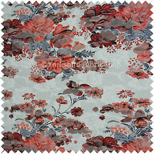 Floral Pattern Printed On Lace White Red Colour Stretchy Craft Cushion Fabric