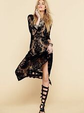 Nwt New $248 Free People  For Love & Lemons Black San Marcos Maxi Dress size XS