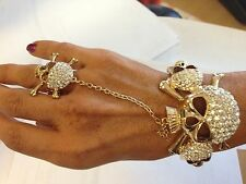 Skull Crossbones Bracelet Rhinestone Slave Adjustable Ring Gold Women Jewelry
