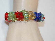 Beautiful Multicolor Faceted Crystal Bead Stretch Bracelet Red Green Blue 1d 18