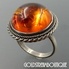 STERLING SILVER HONEY BALTIC AMBER SPHERE ROPE EDGE STATEMENT RING (10) SKU-1968
