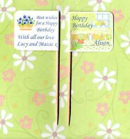 20 PERSONALISED HAPPY BIRTHDAY GARDEN CUP CAKE FLAG Party Food Topper Decoration