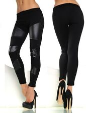 Sexy Shiny Wet Leather Look & Black Mat HIGH LOW WAIST Ankle Length Leggings UK