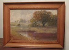 rare vintage original signed Carl Muetze USA oil landscape painting on board