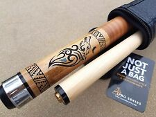 New Outlaw Pool Cue OL33 Thunder Wolf, Stacked Leather Wrap, FREE 1x1 Tube Case!