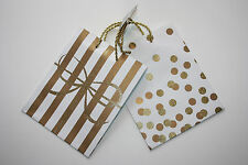 Pier Gift paper bags Birthday Wedding Christmas Holiday Set of 2 Gold 10x8 inch