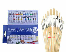 12 PC ASSORTED WOODEN HANDLE ARTIST's BRUSHES + 10 TUBES ACRYLIC PAINT SET NEW