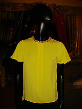 NEW CUTE ' PRIMARK ' LIME / YELLOW TOP / BLOUSE + YELLOW GOLD NECKLACE SIZE 6