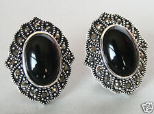 VINTAGE 925 STERLING SILVER NATURAL BLACK AGATE MARCASITE STUD EARRINGS