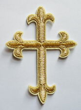 Gold Religious Fleur De Lis Cross Iron On Embroidered Applique Patch Christ