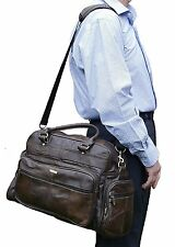 NEW LADIES GENUINE LEATHER HOLDALL TRAVEL GYM SPORTS FLIGHT CABIN BAG 3806-BROWN