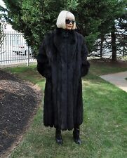 Gorgeous Black Fox Full Length Fur Coat Size L By SAGA FOX EXL