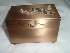 VINTAGE MATTE GOLDTONE AND PEARL 3 DRAWER RING AND JEWELRY BOX