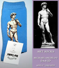 ART SOCKS Michaelangelo DAVID Statue BRIGHT BLUE Ladies Mens ANKLE HIGH WOVEN