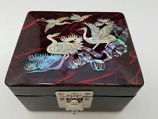 Jewelry Trinket Box - Inlaid Mother-of-Pearl  Wooden Birds  Turtle Clasp mirror