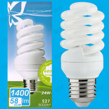 4x 24W Daylight SAD Low Energy CFL 6500K White Light Spiral Bulbs ES E27 Lamps
