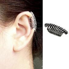 1 Pair Punk Rock Ear Cuff Earrings Leaf Chain Tassel Clip Wrap Stud Jewelry MW