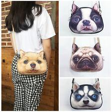 Women's Lifelike Cute Dog Face Zipper Shoulder Bag Tote Small Shopping Handbag