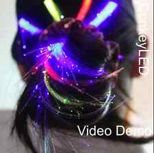 """LED fiber wig optic hair extension Christmas rainbow color 14"""" clip on, Party"""