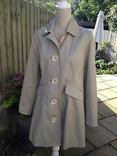 BODEN   beige trench / rain coat / mac  with floral lining UK 12 - 100% cotton